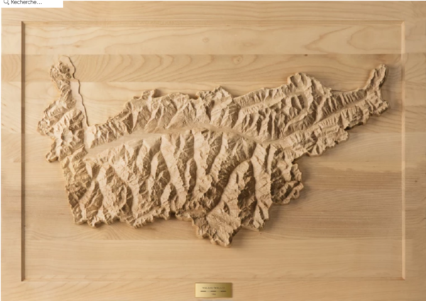 3D-Relief WALLIS in Holz